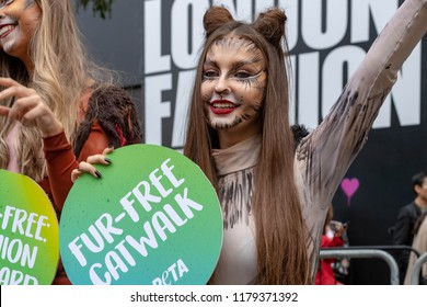 "LONDON UK SEPTEMBER 14TH 2018, London Fashion Week PETA demonstrators in cat outfits celebrate a ""No Fur""  fashion week,"