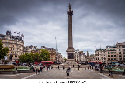LONDON, UK - SEPTEMBER 15, 2018: The historic architecture of London in the UK at Trafalgar Square at sunset.