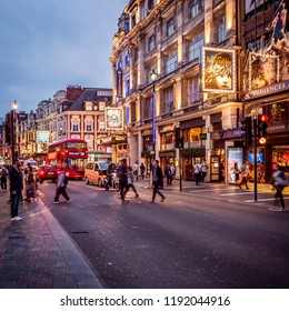 LONDON, UK - SEPTEMBER 15, 2018: The historic architecture of London in the UK by Leicester Square at night.
