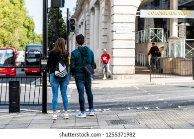 London, UK - September 15, 2018: United Kingdom, Pimlico Westminster neighborhood district, people standing at Colonnade walk near Victoria station, urban street