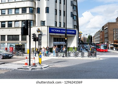 London, UK - September 15, 2018: United Kingdom Pimlico Westminster district with many people near Victoria station on urban street road