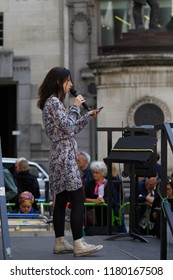 London, UK. - September 15th, 2018: Naomi Colvin, a supporter of the direct action group Occupy, speaking at the Change Finance Rally outside the Royal Exchange in the City of London.