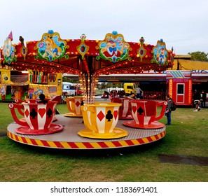 London, UK, September 15th 2018: Tea cup ride at peckham rye park in South London