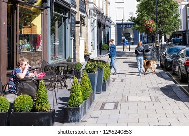 London, UK - September 16, 2018: Street sidewalk in Pimlico Belgravia area by cafe restaurants and people walking dog on pavement during sunny day