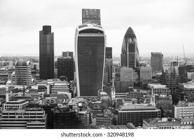 LONDON, UK - SEPTEMBER 17, 2015: City of London panorama with modern skyscrapers. Gherkin, Walkie-Talkie, Tower 42, Lloyds bank. Business and banking aria