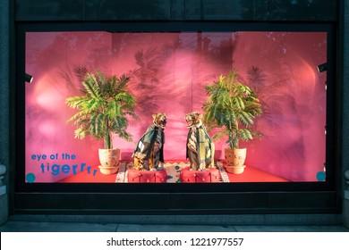 LONDON, UK - September 17, 2018: Shop Selfridges on Oxford Street in London, decorated for autumn term