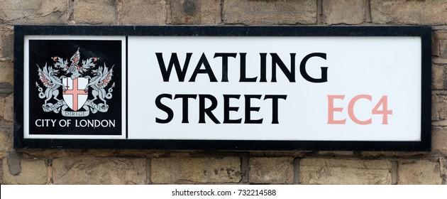 LONDON, UK - SEPTEMBER 18 2016: Watling Street Sign, London - site of old Roman Road.
