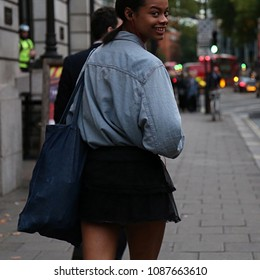 LONDON, UK- September 18 2017 Aaliyah Hydes on the street during the London Fashion Week