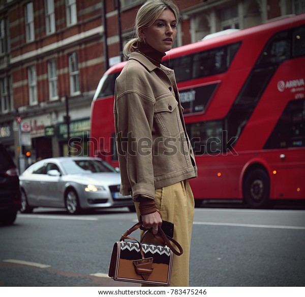 LONDON, UK- September 18 2017 Woman on the street during the London Fashion Week