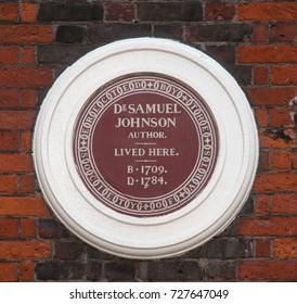 LONDON, UK - SEPTEMBER 18: Plaque on Dr Samuel Johnson's House, Gough Square, London, UK. Taken on 18 September 2010