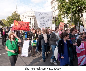 LONDON, UK - SEPTEMBER 18: Protesters March Against The Pope's Visit, Trafalgar Square, London, September, 18 2010