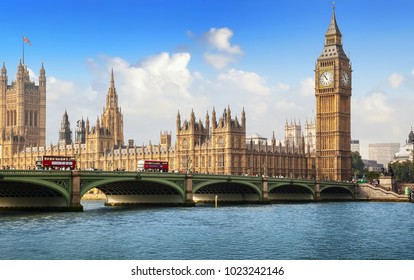 LONDON, UK - September 19, 2014: Panoramic view of London with Big Ben, House of Parliament and Westminster bridge over the river Thames on a sunny day
