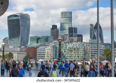 LONDON UK - SEPTEMBER 19, 2015 - City of London view, modern buildings of offices, banks and corporative companies