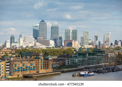LONDON, UK - SEPTEMBER 19, 2015: Canary Wharf and river thames view
