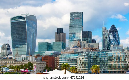 LONDON, UK - SEPTEMBER 19, 2016:City of London modern buildings facade, business and banking aria