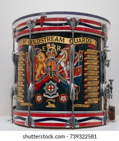 LONDON, UK - SEPTEMBER 20 2015: Coldstream Guards Regimental Drum