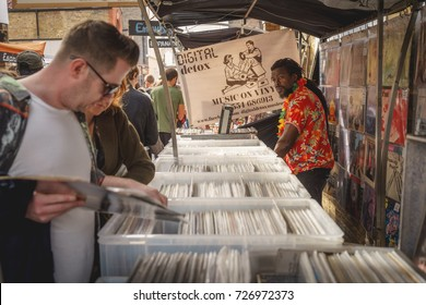 London (UK), September 2017. Vinyl records on sale in a stall in Greenwich Market.