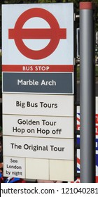 London, UK - September 2018: Marble Arch Bus Stop Sign