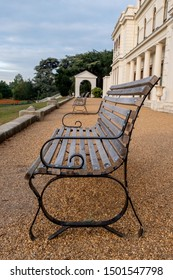 London UK, September 2019. Bench in front of the newly renovated mansion at Gunnersbury Park and Museum on the Gunnersbury Estate. Photographed in the early morning.