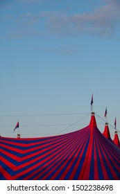 London UK, September 2019. Top of colourful big tent at the Gunnersville Festival concert series in Gunnersbury Park, Chiswick, West London