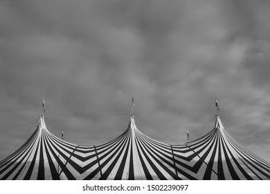 London UK, September 2019. Top of big tent at the Gunnersville Festival concert series in Gunnersbury Park, Chiswick, West London. Photographed in monochrome.