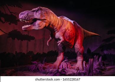 London, UK;  September 20th 2019: A Roaring Animatronic Model of Tyrannosaurus Rex Disonaur at Natural History  Museum in London, UK