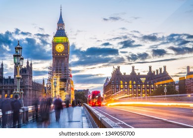 LONDON, UK - SEPTEMBER 22, 2017: Big Ben and Westminster Bridge, London, UK