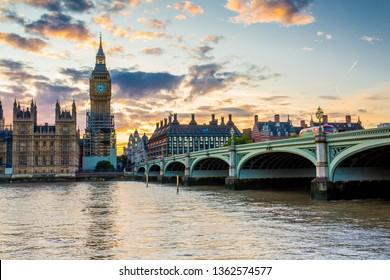 LONDON, UK - SEPTEMBER 22, 2017: Big Ben and Westminster Bridge, London, UK