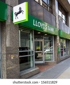 LONDON, UK - SEPTEMBER 24, 2013: The outside of a Lloyds Bank in London showing the recently changed branding on September 24 2013