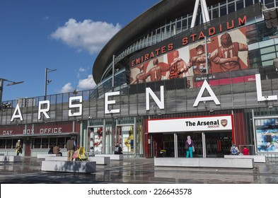 LONDON, UK - SEPTEMBER 24, 2014 : Emirates Stadium, North London, home of English Premier League team Arsenal Football Club. View shows the south entrance and club shop.