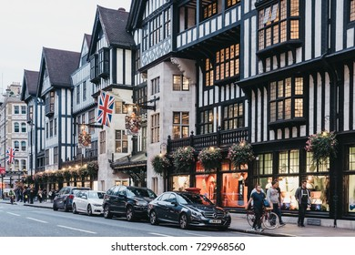 LONDON, UK - SEPTEMBER 24, 2017: The exterior of Liberty Department Store. Opened in 1875 it is famous for luxury goods and classic Liberty designs.