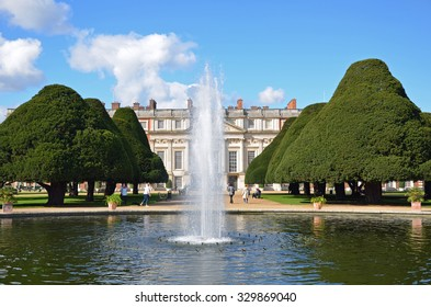 London, UK - September 25, 2015: Privy Garden view to Hampton Court in England, which dates to the Tudor period used by King Henry VIII.
