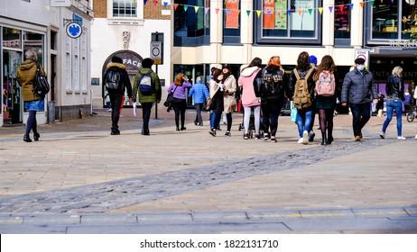 London UK, September 25 2020, Groups Of People And Students Walking On High Street, COVID-19 Coronavirus Pandemic