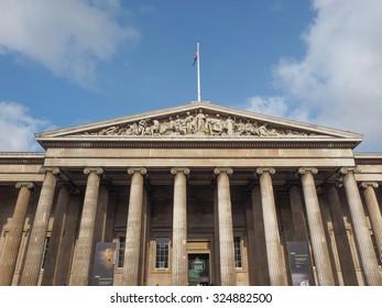 LONDON, UK - SEPTEMBER 28, 2015: Tourists visiting the British Museum