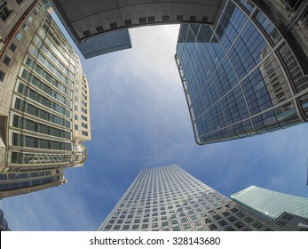 LONDON, UK - SEPTEMBER 29, 2015: The Canary Wharf business centre is the largest business district in the United Kingdom seen with fisheye lens