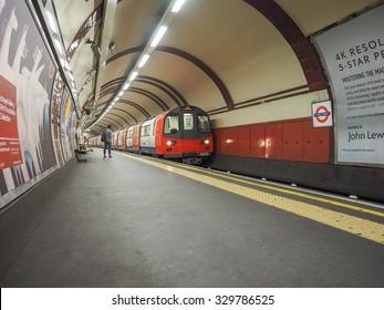 LONDON, UK - SEPTEMBER 29, 2015: Tube train at platform at Chalk Farm station on the Northern Line