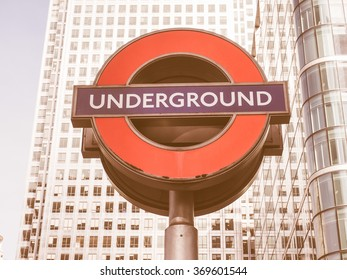 LONDON, UK - SEPTEMBER 29, 2015: The Canary Wharf tube station serves the largest business district in the United Kingdom vintage