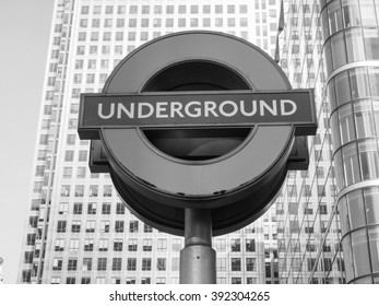 LONDON, UK - SEPTEMBER 29, 2015: The Canary Wharf tube station serves the largest business district in the United Kingdom in black and white