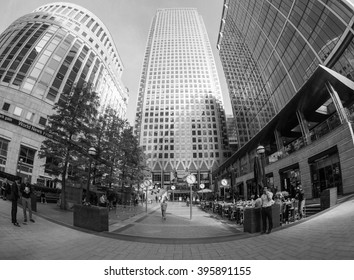LONDON, UK - SEPTEMBER 29, 2015: The Canary Wharf business centre is the largest business district in the United Kingdom seen with fisheye lens in black and white