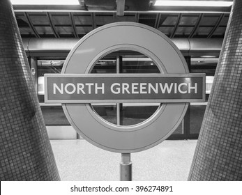 LONDON, UK - SEPTEMBER 29, 2015: London Underground sign at North Greenwich tube station in black and white