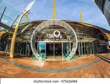 LONDON, UK - SEPTEMBER 29, 2015: The Millennium Dome built in celebration of the third millennium in year 2000 now houses the O2 arena music hall seen with fisheye lens (HDR)