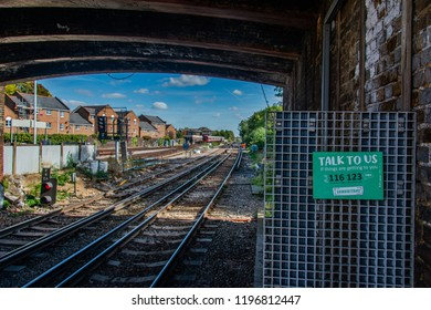 London / UK - September 29th 2018: Samaritans Suicide Help Line by Tracks at Richmond Station