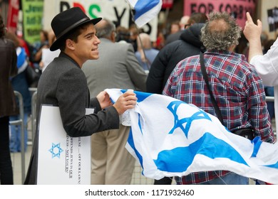 London, UK. - September 4, 2018. Protestors outside Labour Party headquarters where the party meets to discuss whether to adopt in full an international definition of anti-Semitism.