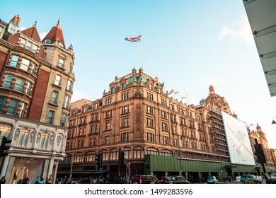 LONDON, UK - SEPTEMBER 5, 2019: The famous Harrods department store at Knightsbridge in London, UK.