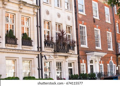 London, UK - September 8, 2016: Windows of the luxury apartments in Mayfair. Centre London residential buildings.