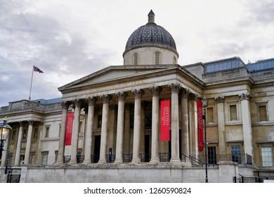 LONDON, UK - SEPTEMBER 8, 2018: The London National Gallery - London Art Museum on Trafalgar Square