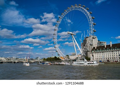 LONDON, UK - SEPTEMBER 9, 2018: Ferris wheel - London Eye, located in the Lambeth district on the south bank of the Thames. The largest in Europe and one of the largest in the world.