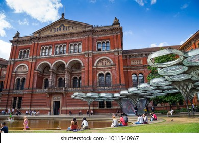 LONDON, UK, UNITED KINGDOM - JULY, 2016: View of Victoria and Albert Museum building and John Madejski Garden in the courtyard of Museum.