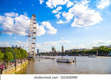 LONDON, UK, UNITED KINGDOM - JULY, 2016: View of The London Eye in London. At a height of 135m, it is the tallest Ferris wheel in Europe.