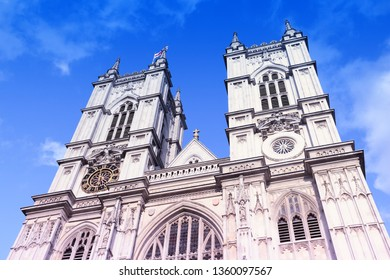 London, UK - Westminster Abbey facade view. UNESCO World Heritage Site.